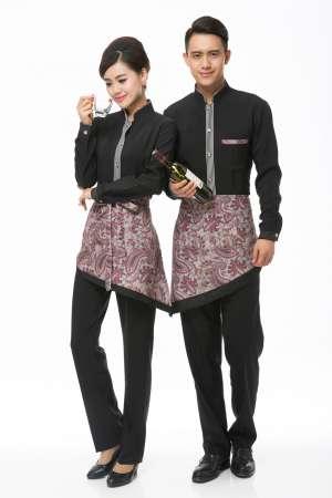 西餐厅咖啡馆黑色工作服花围裙男女套装现货批发设计酒店服工作服围裙
