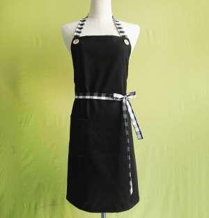 黑色围裙 厂家批发全棉纯色工作服 加工定制防油厨房无袖家居围裙